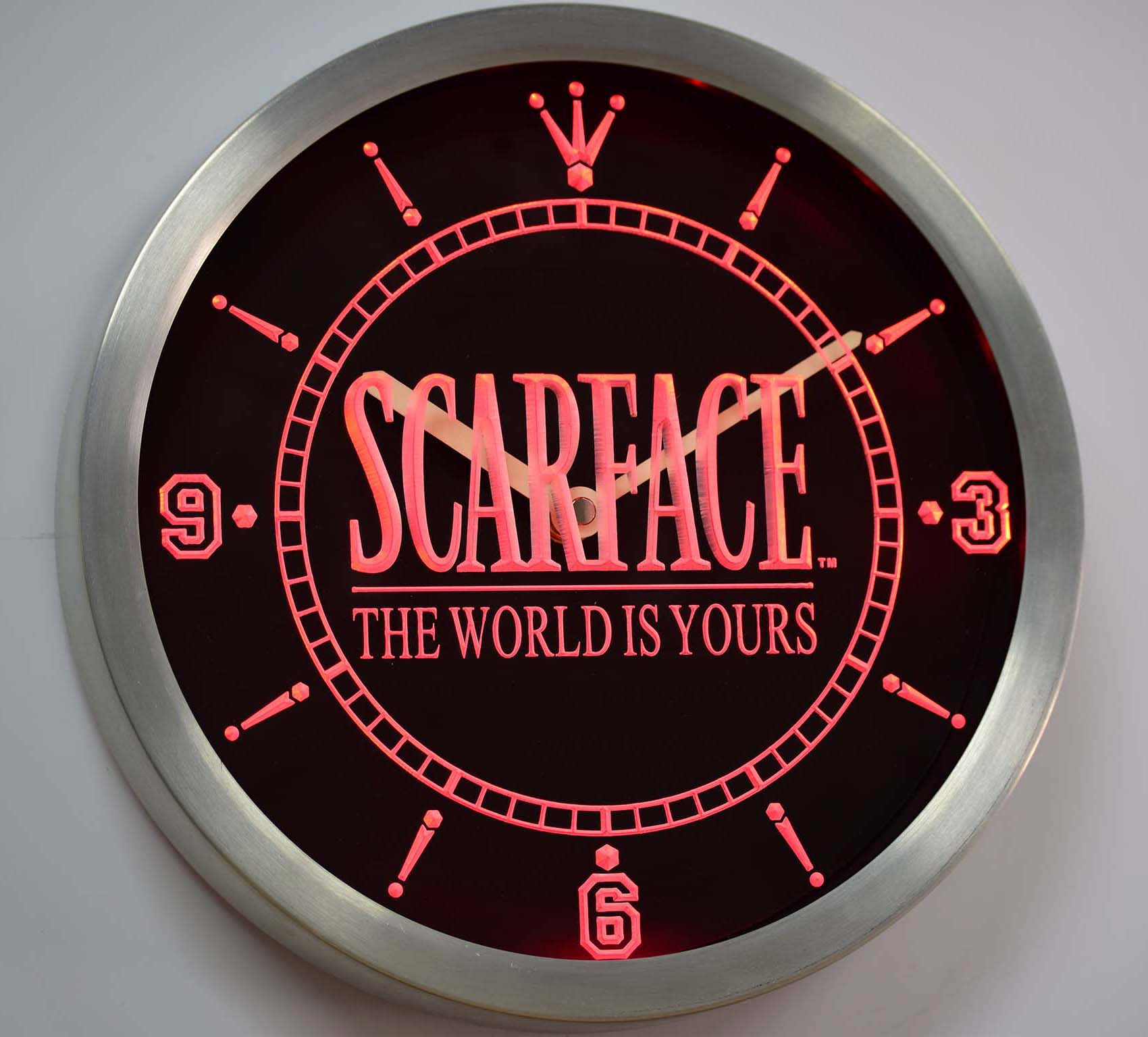 Scarface money power respect vinyl wall decal for home decore - Nc0153 Scarface The World Is Yours Bar Beer Neon Sign Led Wall Clock China