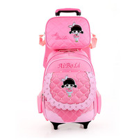 2018 2PCS SET Lovely Students Trolley Case Mochilas Kids Backpacks With Two Wheels Trolley Luggage For