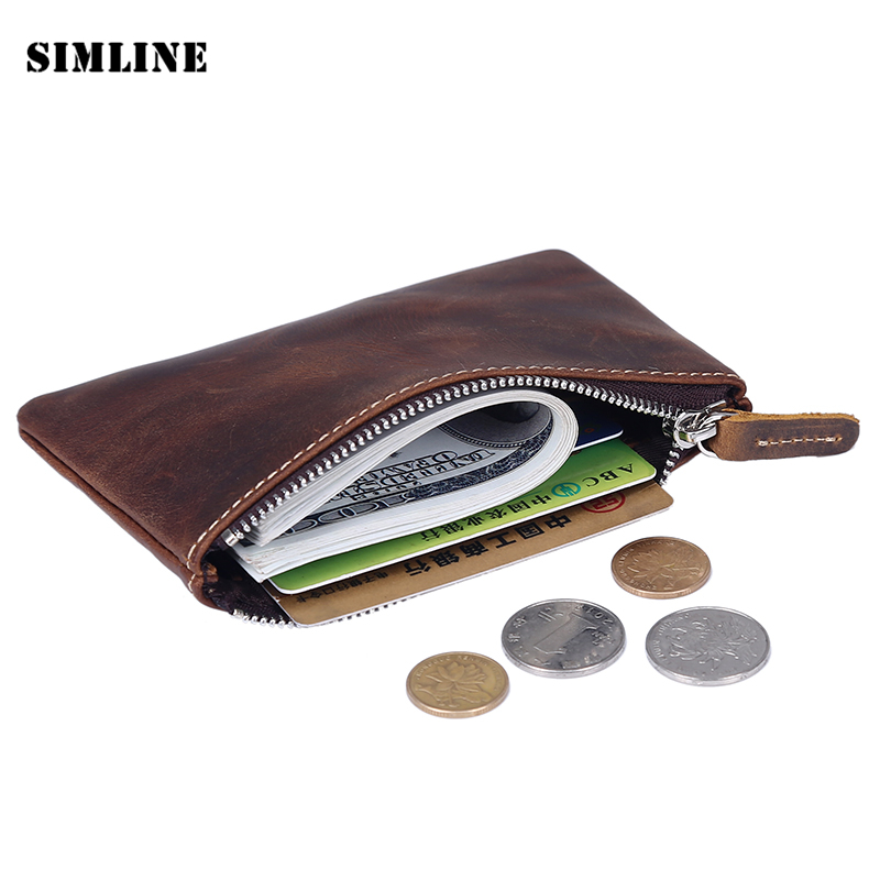 Brand Vintage Genuine Crazy Horse Leather Cowhide Men Short Thin Zipper Slim Mini Pocket Wallet Wallets Coin Purse Card Holder genuine leather men wallets short coin purse vintage double zipper cowhide leather wallet luxury brand card holder small purse