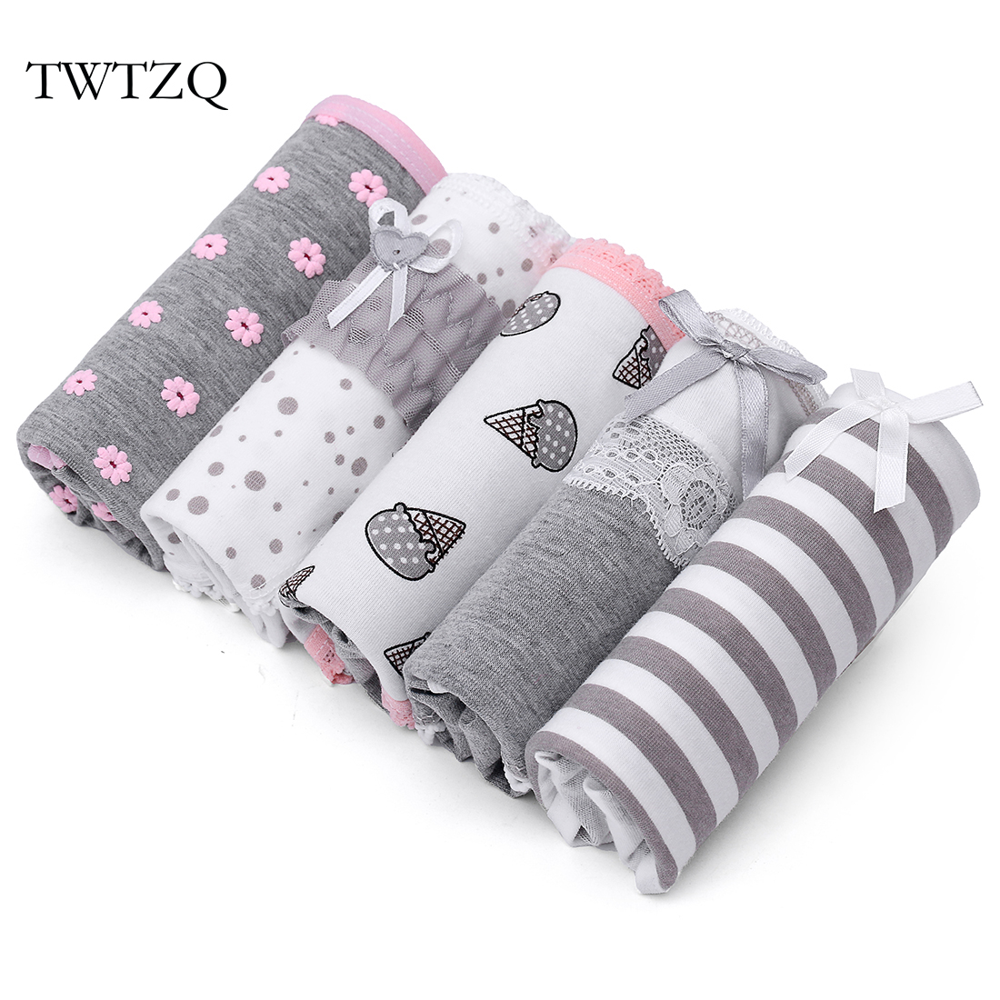 TWTZQ 5Pcs/Lot Flower Striped Women Cotton Briefs Underwear Bow Mid-Waist Panties Ladies Girl Flower Women Panties 3NK019 ...