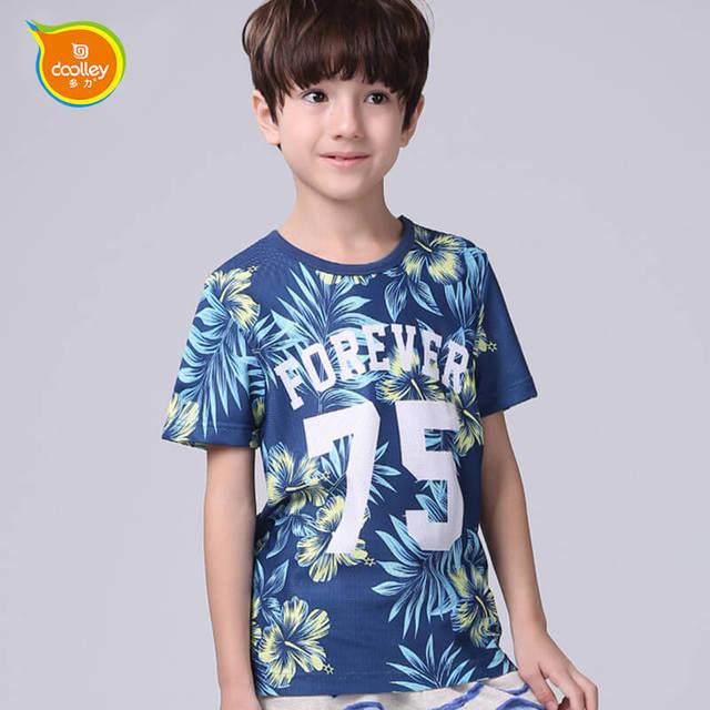 DOOLLEY Menino Verão T-shirt Da Forma 2017 Nova Chegada Floral Impressão Crianças Casual Algodão Camisetas de Manga Curta Roupas Tamanho 110-170 cm