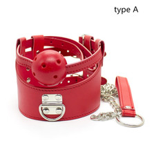 Loverkiss Faux Leather Sex Fetish Bondage Restraints Neck Collar With Open Mouth Gag Ball Slave Trainer Toys Set Sex Products