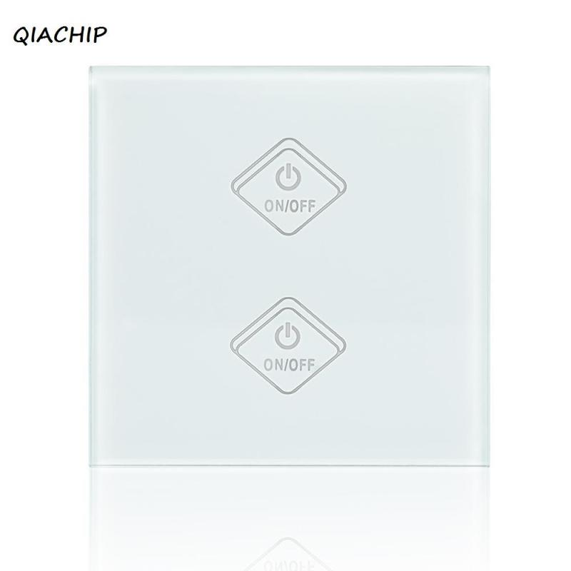 UK WiFi 2 Gang Light Wall Switch Waterproof White Crystal Tempered Glass Panel Touch Screen Smart Switch For Amazon Alexa Voice sonoff t1 smart wifi rf app touch control wall light switch 1 2 3 gang 86 type uk panel wall touch light switch alexa nest