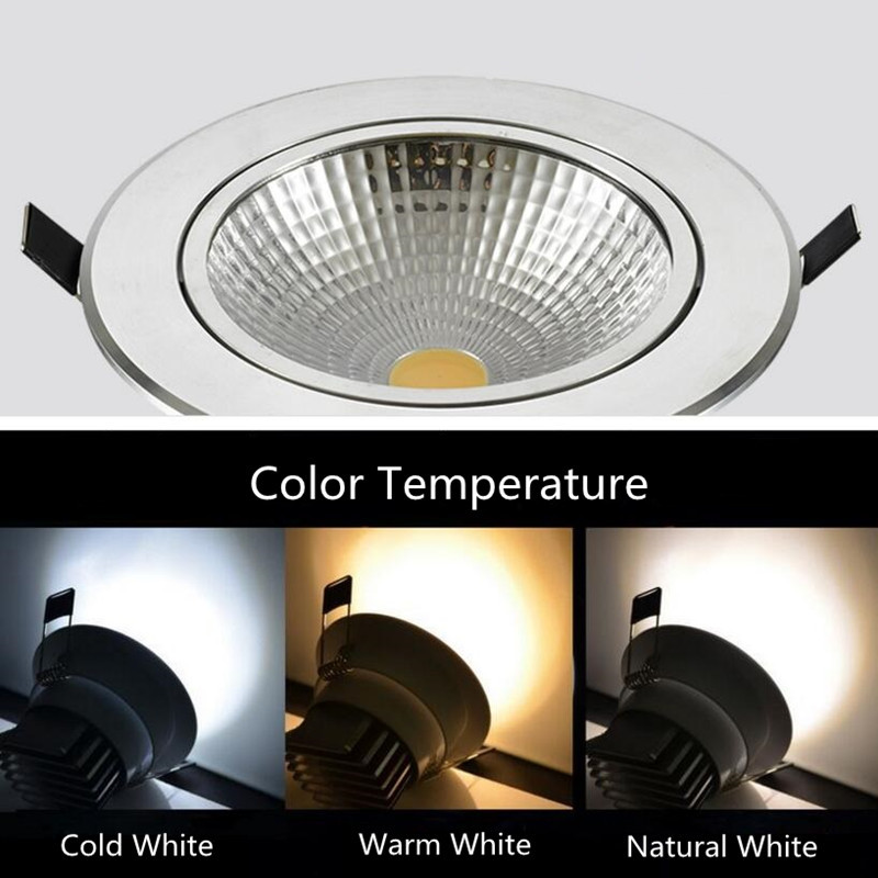 Bright Dimmable led downlight COB Ceiling Spot Lights 7W 10W 12W LED ceiling Recessed lamp Indoor Lighting 110V 220V in LED Downlights from Lights Lighting