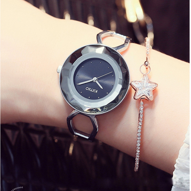 KIMIO Fine Big Dial Multi-faceted Waterproof Watch Women's Bracelet Watch 2018 Fashion Lady Dress Wristwatch relogio masculino
