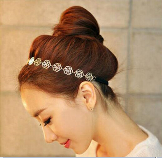1PC New Fashion Cute Women Ladies Gold Metal Chain Jewelry Hollow Rose Flower Elastic Vacation Hair Band Headband 2016 Hot