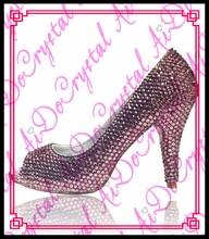 Aidocrystal sexy girls crystal high heels low heel dress peep toe pumps women party wedding shoes