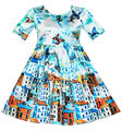 Sunny Fashion Girls Dress Satin Blue Sky Butterfly City Building 2017 Summer Princess Wedding Party Dresses Clothes Size 4-10