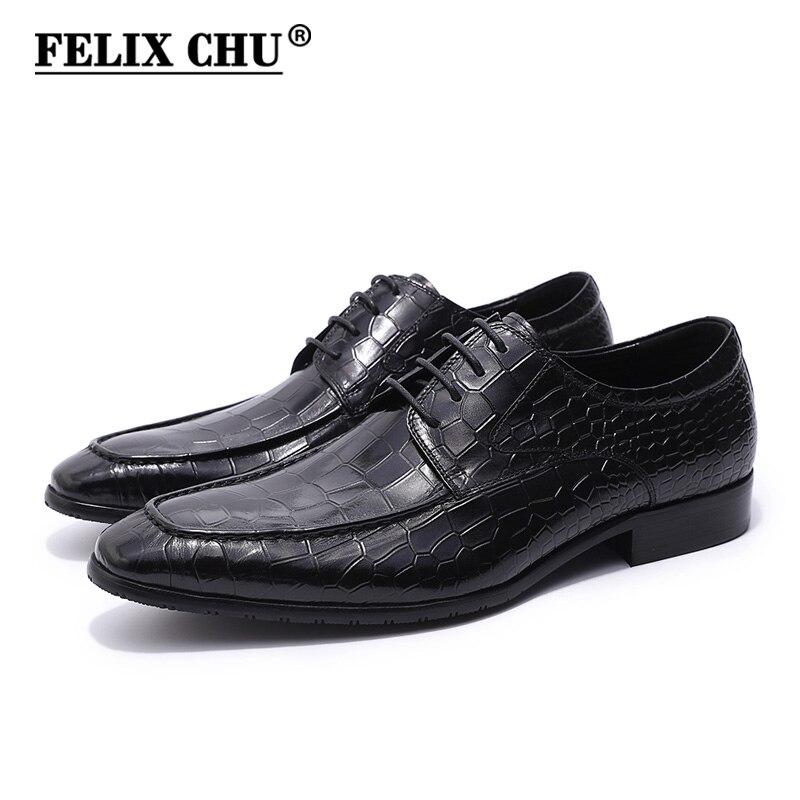 FELIX CHU Printemps Automne Hommes Noir Derby Chaussures Crocodile Imprimer Cuir Véritable Lace Up Homme Robe Chaussures Pour Bureau De Mariage partie