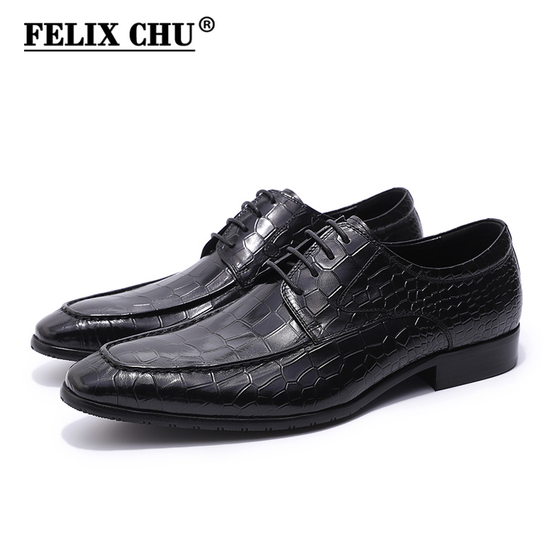 FELIX CHU Spring Autumn Men Black Derby Shoes Crocodile Print Genuine Leather Lace Up Male Dress Shoes For Office Wedding Party new arrival mens fashion wedding party dress genuine leather derby shoes breathable lace up oxfords shoe crocodile pattern male