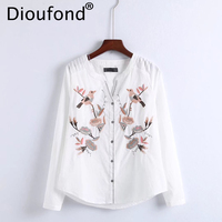 Dioufond Women Birds Floral Embroidered White Blouse Shirt Long Sleeve V Neck Cotton Shirts Casual Ladies