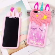 For Samsung 3D Cartoon Unicorn Quicksand Liquid Soft Silicone Case Cover iPhone 5 5S 5C SE 6 6s 7 8 X Plus Lanyard Handbag