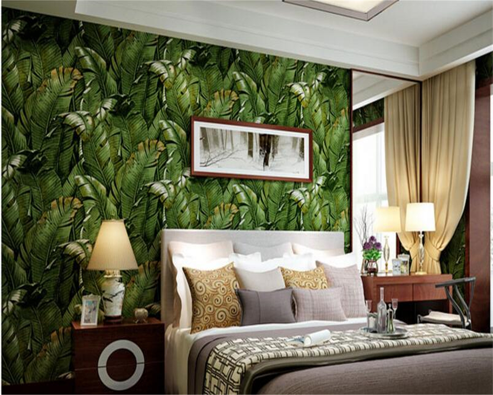 beibehang Southeast Asia simple green plant plantain leaf wallpaper environmental non-woven living room bedroom papel de parede southeast asiabanana leaf wallpaper designs super heavy nice quality wallpaper for papel de parede moderna for living room