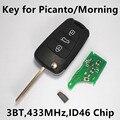 3 Botones Dominante Alejada Del Coche para KIA Picanto Mañana 433 MHz ID46 Chip Transmisor de Entrada Sin Llave 2011-2012