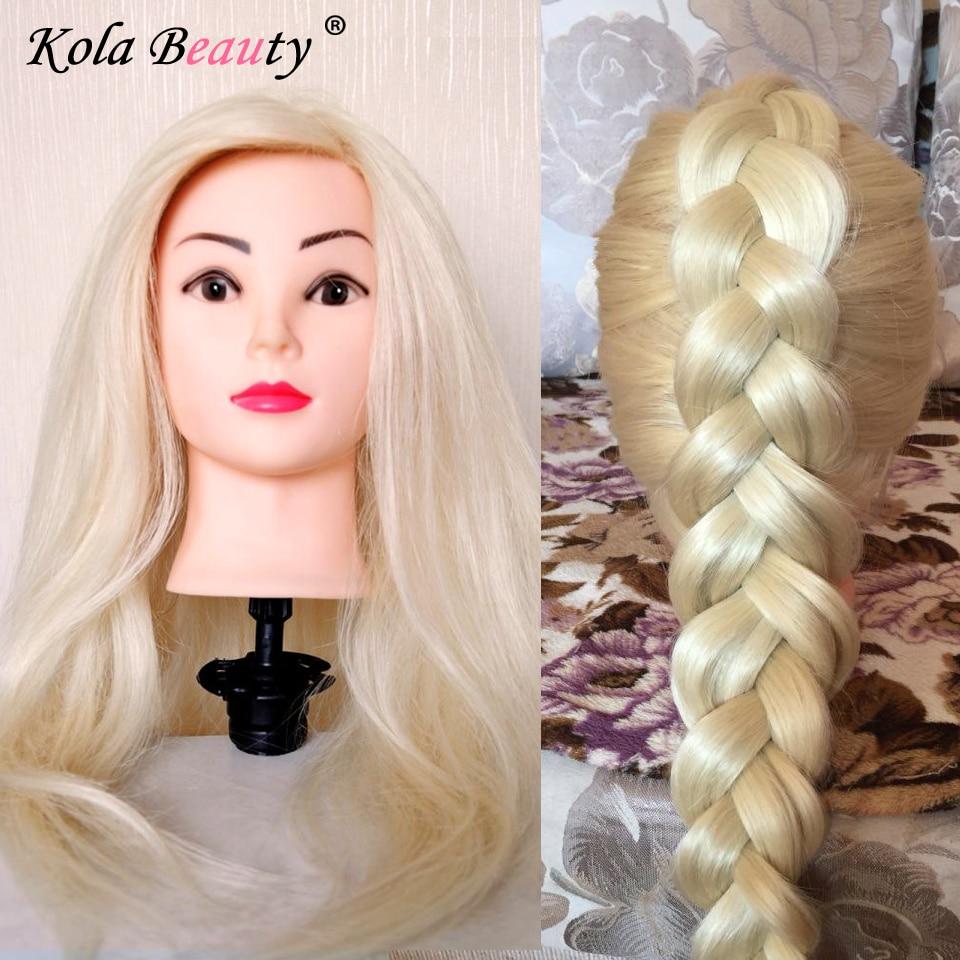 Symthetic Blonde Formation Mannequin Tête pour Coiffeur Mannequin Mannequin Tête avec Des Cheveux Humains Cosmétologie Mannequin Chefs