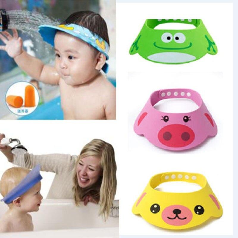 New Adjustable Baby Hat Toddler Kids Cartoon Shampoo Bathing Shower Cap Wash Hair Shield Direct Visor Caps For Children Care