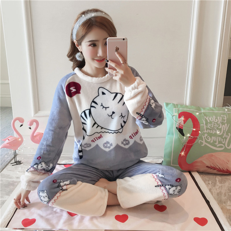 Newest 2019 Autumn Winter Women Thicken Flannel Pajama Set Loose Print Thick Warm Love Pijama Girl Nightgown Sleepwear Long Pant