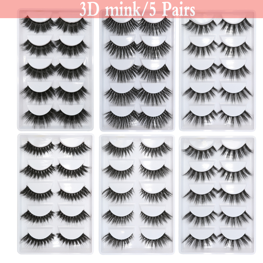 MB New 3D 100% 5 Pairs Mink Eyelashes Makeup Natural Thick Real False 3 Pairs Lashes Fur Strip Fake Eye Lashes Extension