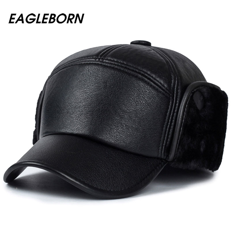 2019 Men Winter Hats PU Leather Baseball Cap Men Protect Ear Fur Bomber Hats Snapback Casquette Outdoor Keep Warm Dad Hat Gorras