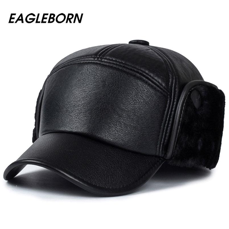 2020 мужские зимние шапки из искусственной кожи, бейсбольная кепка для мужчин, защита ушей, меховые шапки бомберы, snapback casquette, уличная теплая шапка для папы gorras fur bomber hat bomber hatfur cap men   АлиЭкспресс