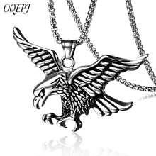 OQEPJ Punk Male Eagle Wings Hanging Necklace Pendant 316L Stainless Steel Gold Silver Color Necklaces Fashion Animal Jewelry