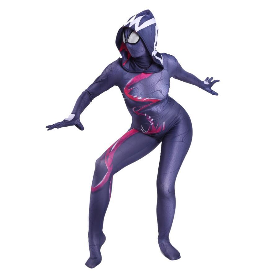 Gwen Stacy Costume Cosplay femmes filles venin araignée Spiderman à capuche Spandex Lycra Zentai Costume super-héros combinaison combinaisons