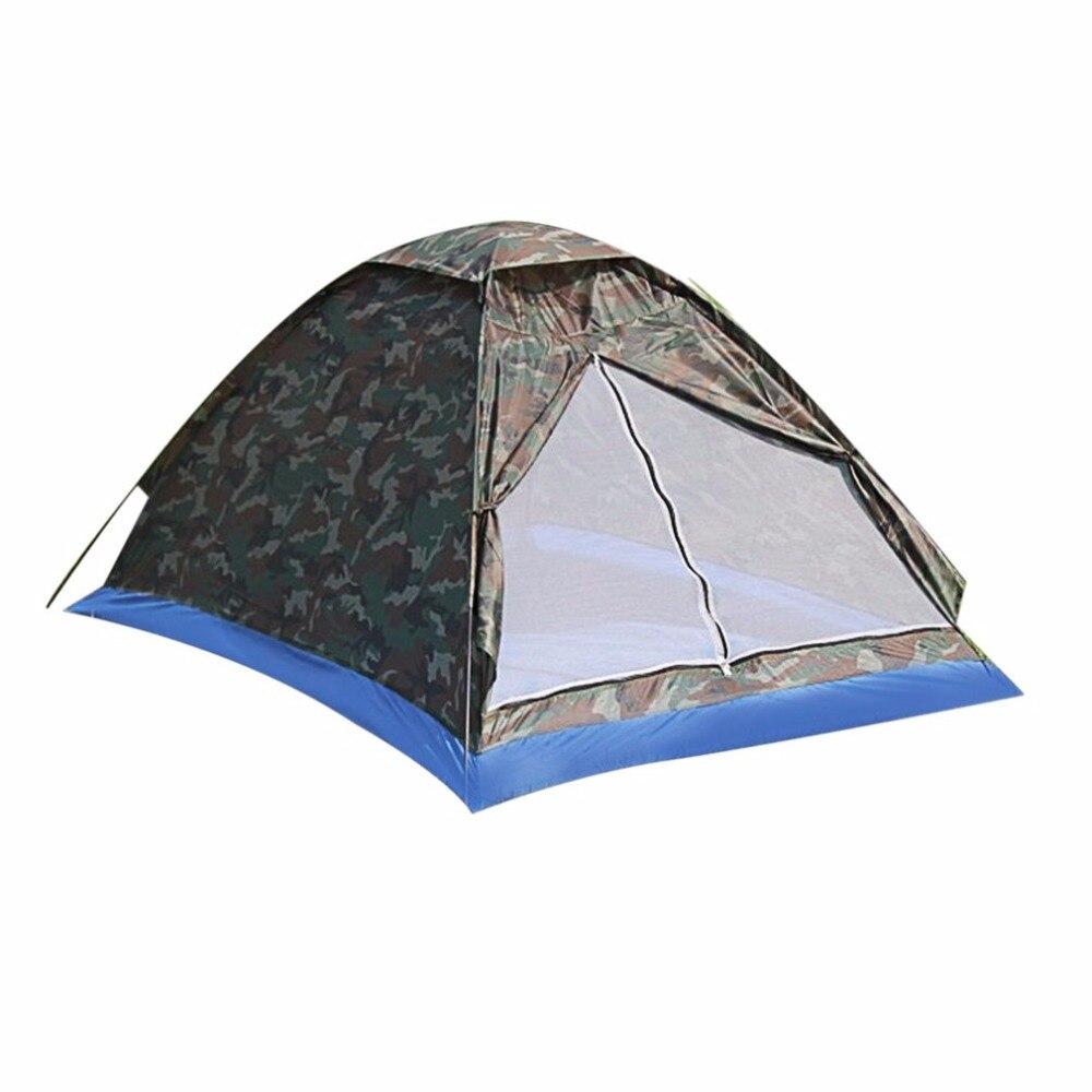 Portátil al aire libre carpa de playa camuflaje tienda de campaña para 2 persona sola capa de tela de poliéster tiendas PU1000mm bolsa de viaje