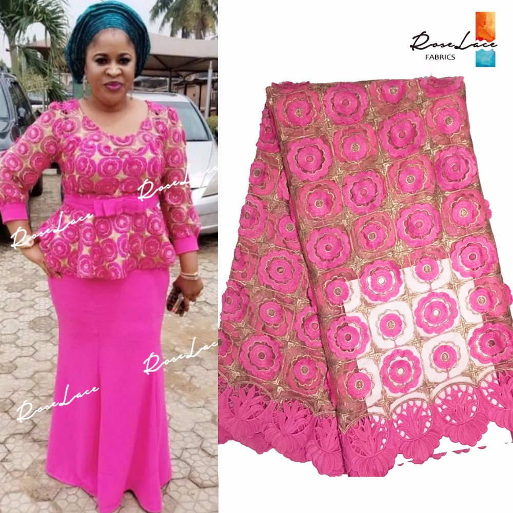 Applique Guipure Net Lace Fabric African Pink Embroidered Mesh Tulle 2018  Latest Fashion For Nigerian Noble 53de3f33847e