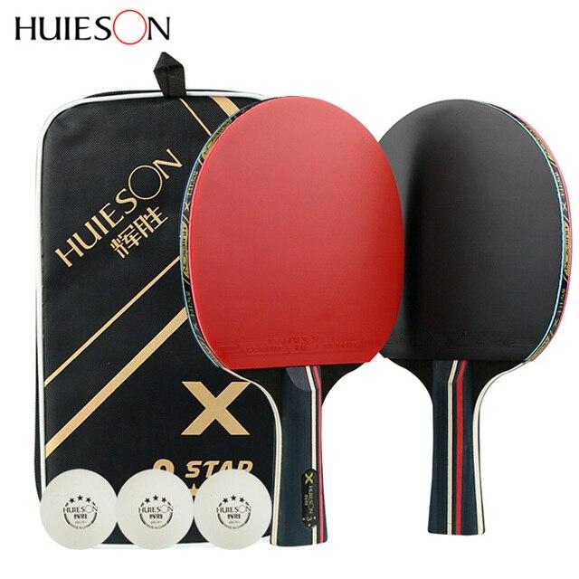 1 paire Huieson raquettes de Tennis de Table lame en caoutchouc professionnel carbone ping pong batte longs picots porte plume pagaie avec sac 3 balles