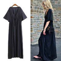 Summer Europe And America Street Snap Deep V Neck Blouse Dress Loose Plus Size Women S