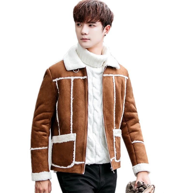 LEFT ROM Winter Hot Fake Fur Stitching Men S Coats Fashion Men S Motorcycle Jacket Slim