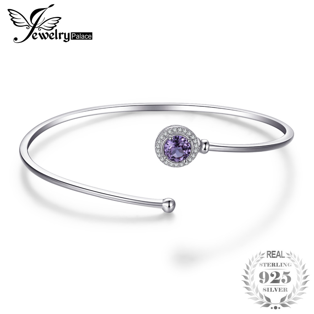 JewelryPalace 1.1ct Created Alexandrite Sapphire Cuff Bangle Bracelet 925 Sterling Silver Fine Jewelry New Wholesale Promotion jewelrypalace butterfly 3 7ct created emerald bangle bracelet 925 sterling silver fashion fashion jewelry for women 2018 new