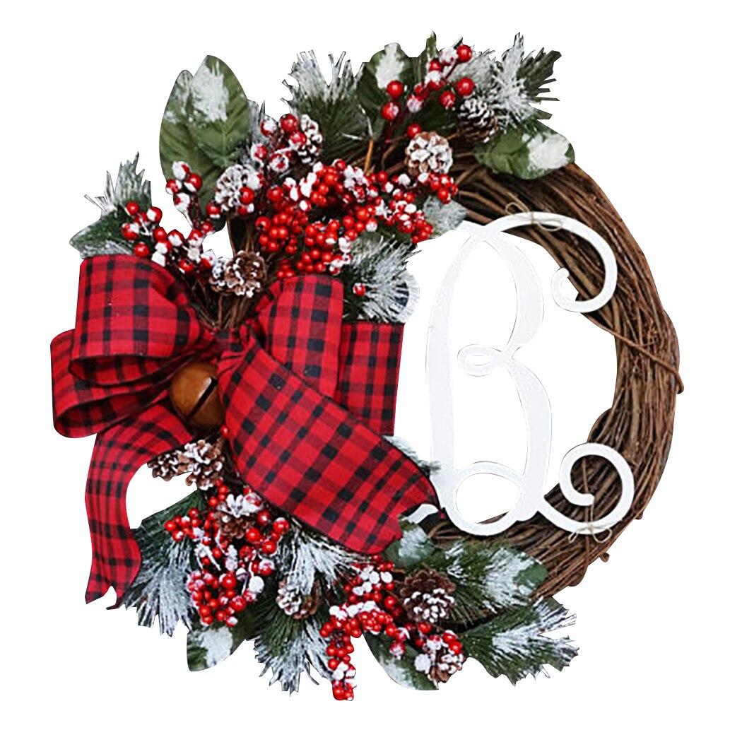 Grinalda de natal porta pendurado artificial planta rattan círculo decoração da parede simulação falso flor pendurado grinalda para casa