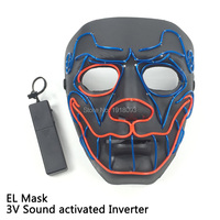 New Prom mask EL Wire Flash Mask Dog Head Mask with Voice Controller Holiday Lighting EL Product for Party Decor