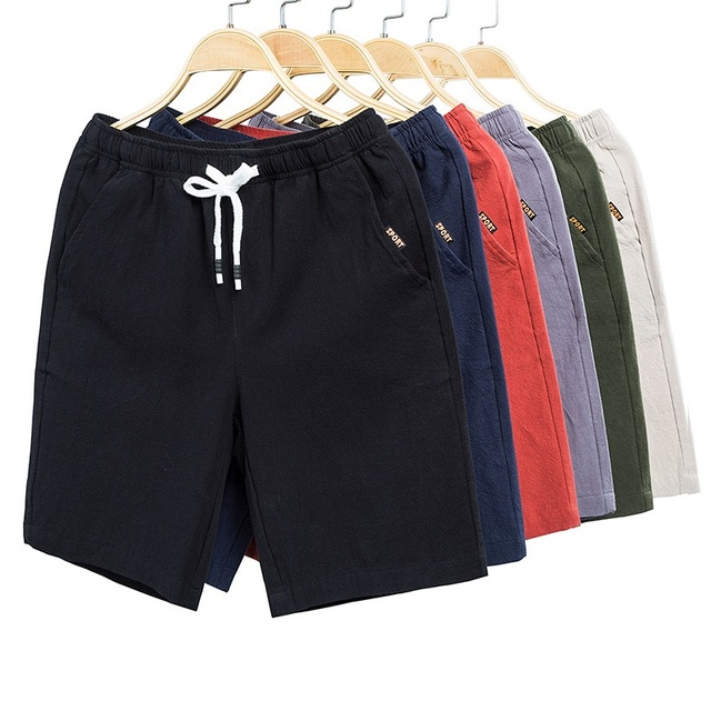 2019 summer hot shorts men's solid color linen shorts men's summer loose breathable casual shorts beach shorts large size 5XL