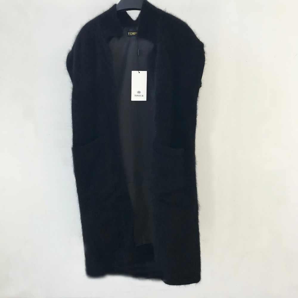 2019 Mới Đến Phụ Nữ Tinh Khiết Dài Tóc Sang Trọng Mở Stitch 100% Chồn Cashmere Áo Len Tự Nhiên Vest với Túi và lót tbsr449