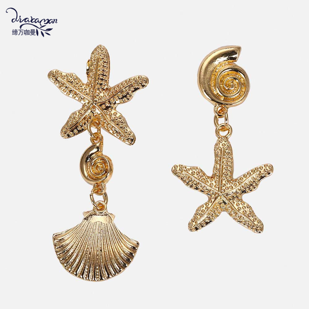 Dvacaman Sea-Star-Earrings Shell Statement-Jewelry Irregular Maxi Women Metal for Gold-Color