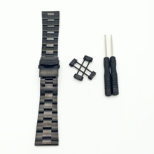 Rare For Suunto Core All Black 24mm Stainless Steel Strap Watch Band W/ Lugs Kit + PVD Buckle +Adapters+Tools For Ross цена в Москве и Питере