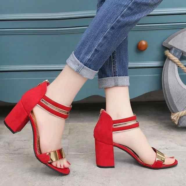 SLYXSH2019New Sıcak Seksi Parti Moda Zip kadın Sandalet Bayanlar Rahat Yüksek Topuklar yarım çizmeler Kadın moda ayakkabılar Kızlar Sandalet