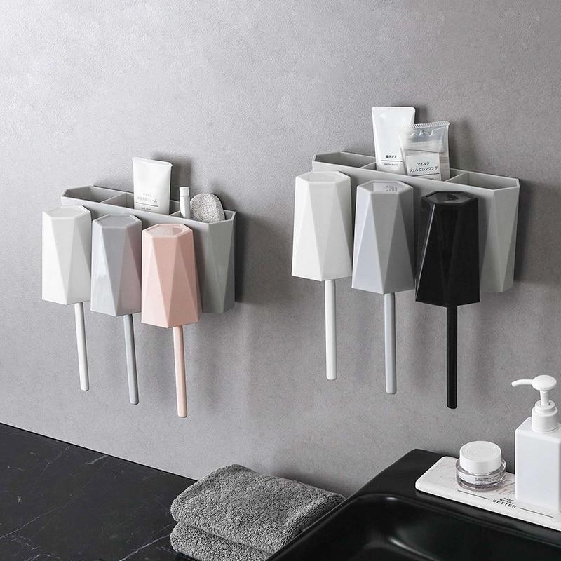 050 Creative Bathroom Wall mounted Toothbrush Holder Toothpaste Toothbrush Rack Toothbrush Hanging Cup 25 5 11 5 12cm in Toothbrush Toothpaste Holders from Home Garden