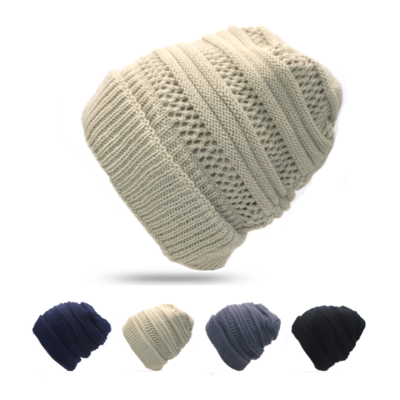 1pcs Fashion Winter Hats for Men and Women Crochet Knitting Wool Cap Casual   Skullies     Beanies   for Women Thick Warm Female Cap