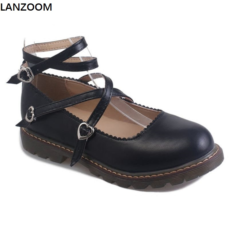 LANZOOM Genuine Leather lolita shoes women Tea party cosplay shoes low heel pumps sweet girl cross tied buckle platform shoes eur 34 44 angelic imprint zapatos mujer lolita cosplay punk pumps high boots princess sweet girl s pumps black women s shoes