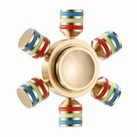 Rainbow Fidget Spinner Finger Spinner Hand Spinner Brass Spiner 6 Side Metallic Fidget Spinner Anxiety and Stress Reliever Toy