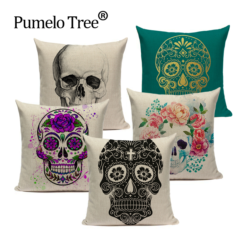 Pillowcase Punk Bohemia Paisley Black And White Skull Cushion Cover 45cm Cotton Linen Printed Throw Pillows Decorative Cojines