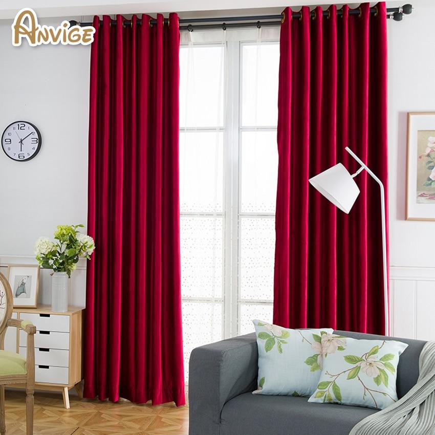 Red Window Curtain Panels Sale: Anvige Red Color Velvet Cloth Luxury European Blackout