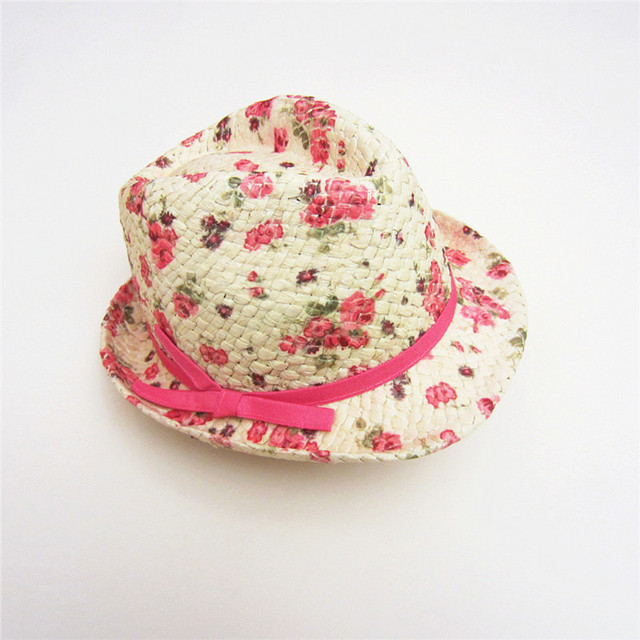 07e47844 Sweet Girls Hats Blower Baby Straw Cap Kids Outdoor Fishing Hats Floral  Rose Red Bow Girl Beanie Baby Girl Wearing Accessories
