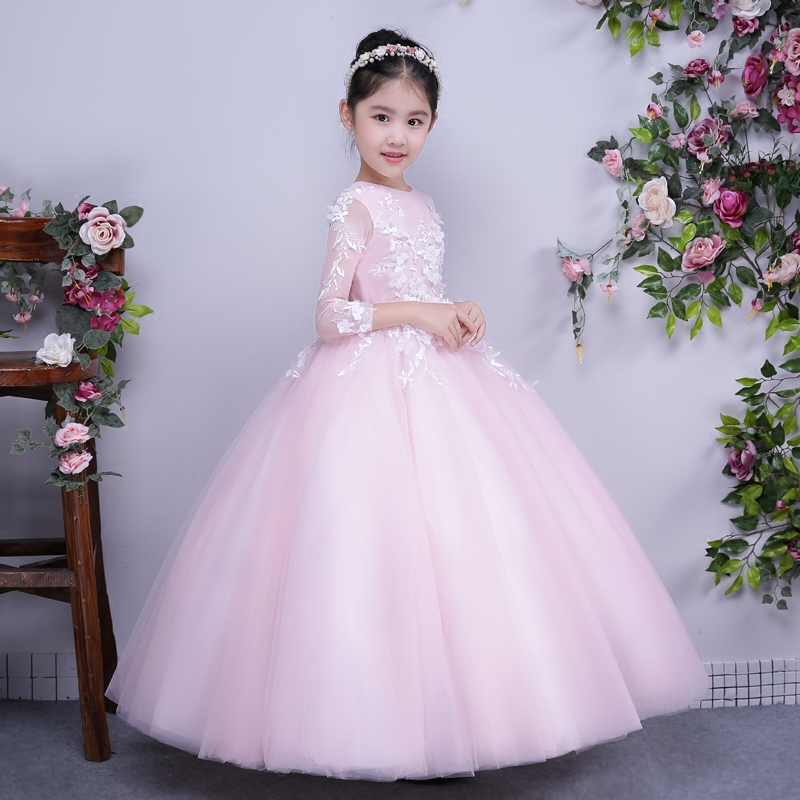 Elegant Princess Prom Party Ball Gown Girl Dress Lace Embroidery Appliques Summer 2017 New Style Wedding Flower Girl Dress P15 ems dhl free shipping toddler little girl s 2017 princess ruffles layers sleeveless lace dress summer style suspender
