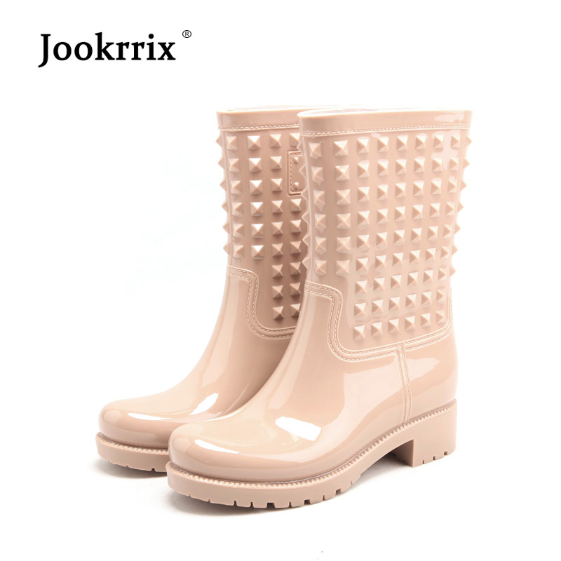 Jookrrix Autumn Girl Rain Boots British Fashion Platform Silp On Adult Waterproof Colorful Boots Woman Shoes Mid Calf Non-slip