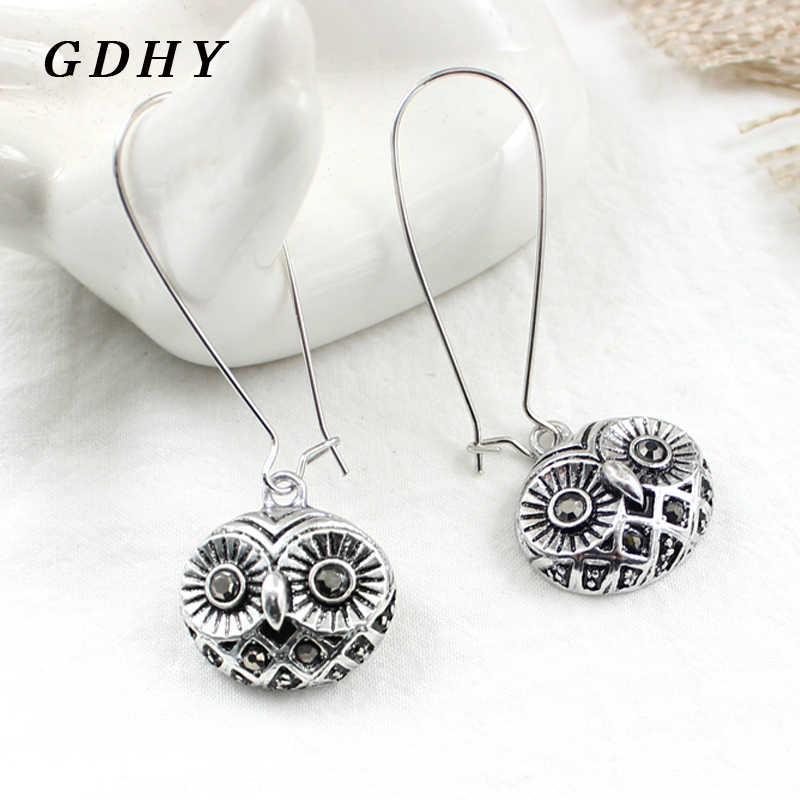 GDHY Милая Ретро серебряная подвеска в форме Совы каплевидные серьги женские ювелирные изделия для девочек