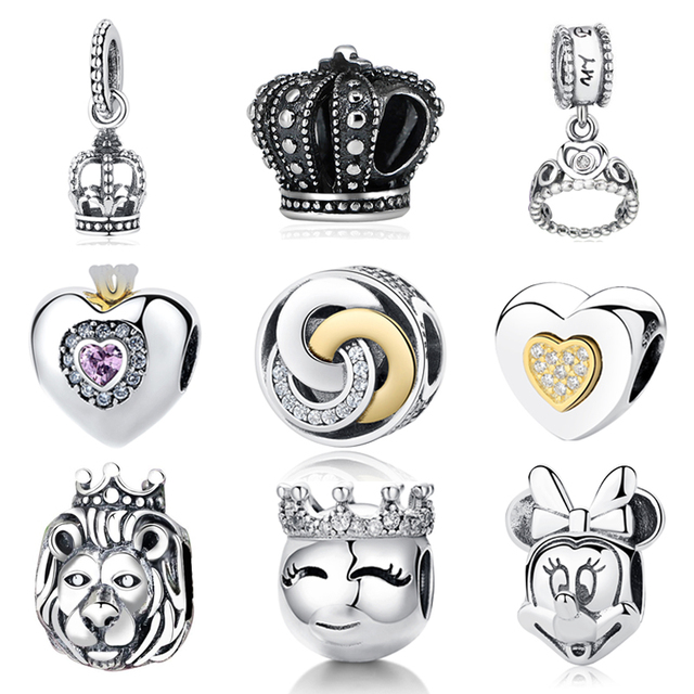 NBSAMENG Original Authentic 925 Sterling Silver Charm Antique Aristocracy Royal Crown Crystal Charms Beads Fit Pandora Bracelets